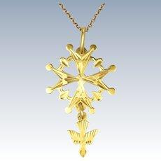 French Antique 18K Gold Saint Esprit Pendant with 9K Chain