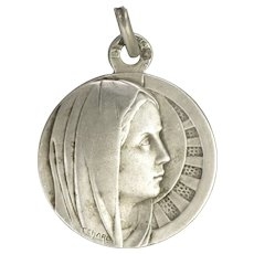 French Art Deco Silver Virgin Mary Medal - C Charl