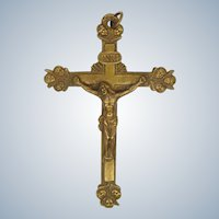 French 19C Large Brass Mission Crucifix