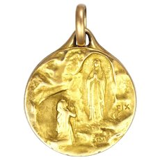 French Our Lady Lourdes Gold filled 'FIX' Medal or Charm