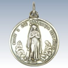 French Circa 1900 Silver Mary and Sacred Heart Medal - WAAG