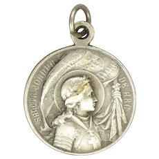French Silver Plated Joan of Arc Pope Benedict XV Silver Medal