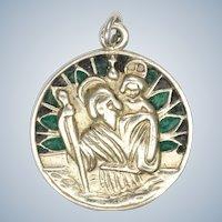 French Art Deco Silver Plique à Jour Enamel Pendant