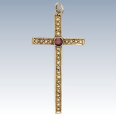 Antique 9k Gold Seed Pearls and Ruby Cross Pendant