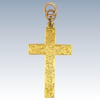 English Antique 9K Gold Engraved Cross Pendant