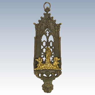 French 19th Century Bronze Virgin and Child Shrine