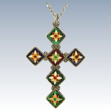 French BRESSANS Silver Enamel Cross and Chain