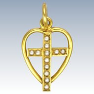 English Circa 1900 15K Cross in Heart Pendant or Charm