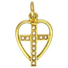 English Circa 1900 15K Cross in Heart Pendant or Charm