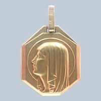 French Art Deco Gold Filled Virgin Mary Medal - FIX
