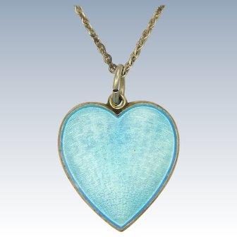 Norwegian Lords Prayer Silver Enamel Heart Necklace