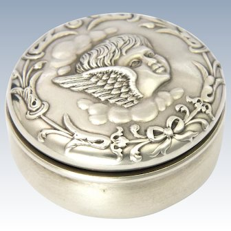 English Antique 1906 Cherub Sterling Silver Pill Box