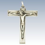French Mid 20th Century Modernist Heavy Silver Crucifix