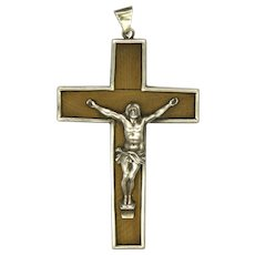 French Victorian Silver on Wood Crucifix
