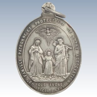 French 19C Holy Family Silver Medal