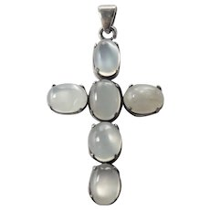 Moonstone and Silver Cross Pendant