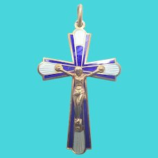 French Art Deco Silver Gilt and Enamel Crucifix