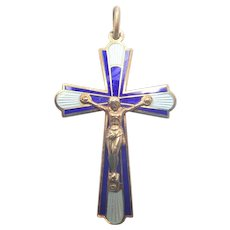 French Art Deco Silver Gilt and Enamel Crucifix