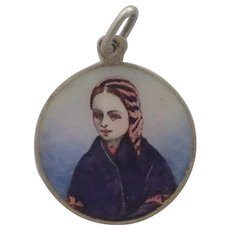 French St. Bernadette Lourdes Silver Enamel Pendant/Medal