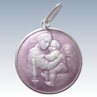 European Silver Enamel Virgin and Child Medal