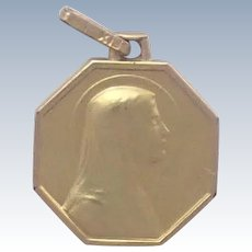 French Art Deco Gold Filled Mary Medal or  Charm - FIX