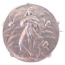 French 19C Silver Virgin Mary and Cherubs Pin