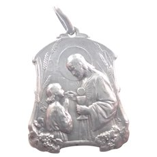 French Silver Large Communion Medal - Tairac