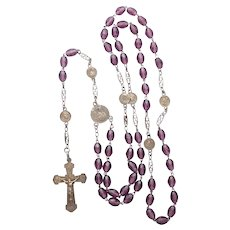 French Circa 1910 Silver Gilt and Amethyst Rosary