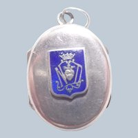 French Antique Silver Enamel Our Lady Locket/Reliquary