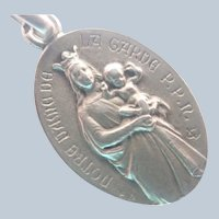 French Antique Silver Our Lady of Garde Medal