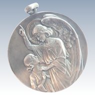 French Very Large Silvered Bronze Angel Medal - L MATTEI