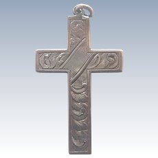 English Sterling Silver Engraved Cross