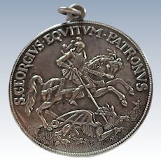 French St George Large Silver Plated Medal