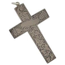Victorian Large Sterling Engraved Cross