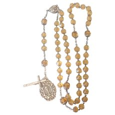 French Antique Silver and Amber Glass Rosary