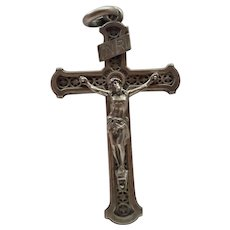 French 19C Silver Pectoral Crucifix