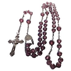 French Antique Silver and Amethyst Glass Beads Rosary