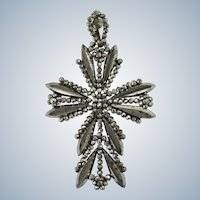 Victorian Cut Steel Cross Pendant