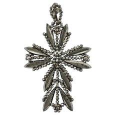 Victorian Cut Steel Cross Pendant