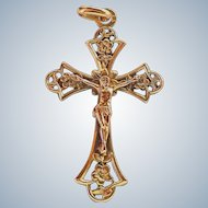French Art Nouveau 'FIX' Gold Filled Crucifix