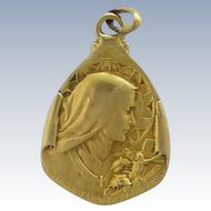 French Deco St. Thérèse Gold FIlled Medal or Charm - Becker