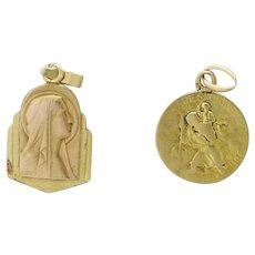 French 18K Gold Virgin Mary and St.Christopher Medals or Charms