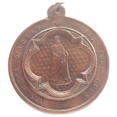 French Victorian St Anne D'Auray Copper Medal