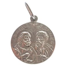 French 1908 St Peter St Paul Silver Plated Medal