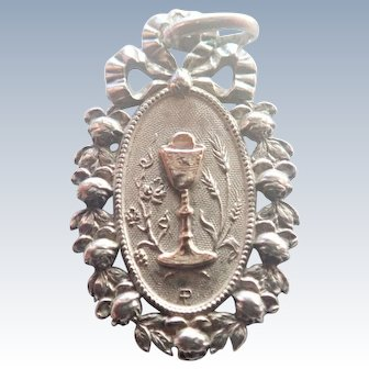 French 1912 Silver Communion Medal