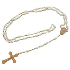 French Art Deco Mother of Pearl Gold Plated Rosary