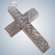 Victorian Sterling Silver Engraved Box Cross Pendant