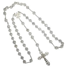 French Antique Silver Rock Crystal Rosary