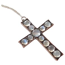 Antique European Silver Moonstone Pendant with Chain