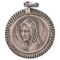 French Art Deco Silver Mary Medal - CHARL